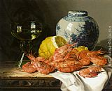 Edward Ladell - Still Life with Prawns and a Delft Pot