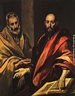 El Greco Canvas Paintings - Apostles Peter and Paul