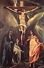 El Greco Famous Paintings - Christ on the Cross with the Two Maries and St John