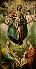 El Greco Canvas Paintings - Virgin and Child with St. Martina and St. Agnes