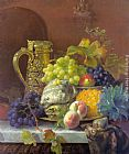 Eloise Harriet Stannard - Fruits on a tray with a silver flagon on a marble ledge