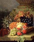 Eloise Harriet Stannard - Peaches, Grapes And A Pineapple In A Basket, On A Stone Ledge