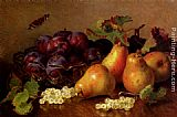 Table Wall Art - Still Life With Pears, Plums In A Glass BowlAnd White Currants On A Table