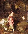 Emile Pierre Metzmacher - A Young Beauty Crossing a Brook with a Hunter Beyond