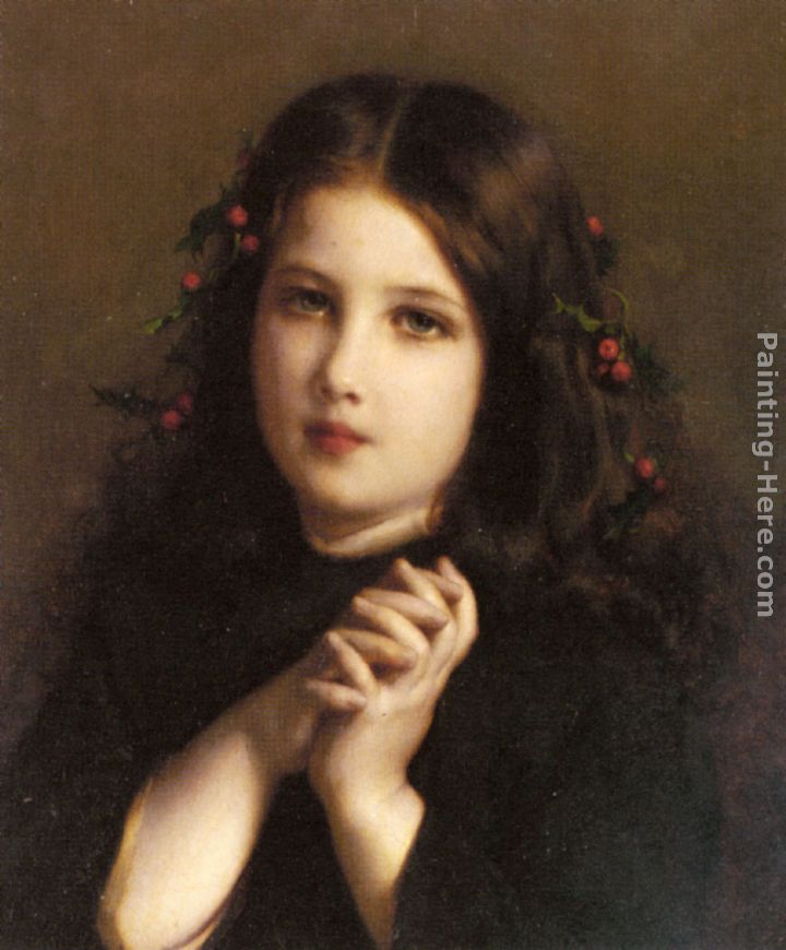 Etienne Adolphe Piot A Young Girl with Holly Berries in her Hair