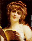 Etienne Adolphe Piot - A Blonde Beauty Holding a Book