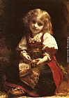 Etienne Adolphe Piot - A Little Girl Holding A Bird