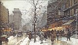 Eugene Galien-Laloue - A Busy Boulavard Under Snow at Porte St. Martin, Paris