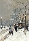 Eugene Galien-Laloue - Figures in the Snow, Paris