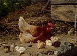 Eugene Remy Maes - A Hen And Chickens