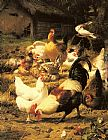 Eugene Remy Maes - Poultry in a Farmyard