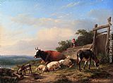 Eugene Verboeckhoven A Farmer Tending His Animals painting