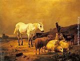 Horse Wall Art - A Horse, Sheep and a Goat in a Landscape