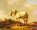 Eugene Verboeckhoven A White Stallion In A Landscape painting