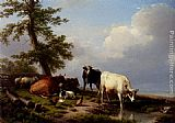 Eugene Verboeckhoven Animals Grazing Near The Sea painting