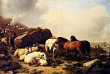 Eugene Verboeckhoven - Horses And Sheep By The Coast