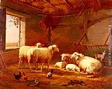 goat Wall Art - Sheep With Chickens And A Goat In A Barn