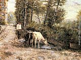 Eugenio Zampighi - Cows Watering at a Quiet Pool