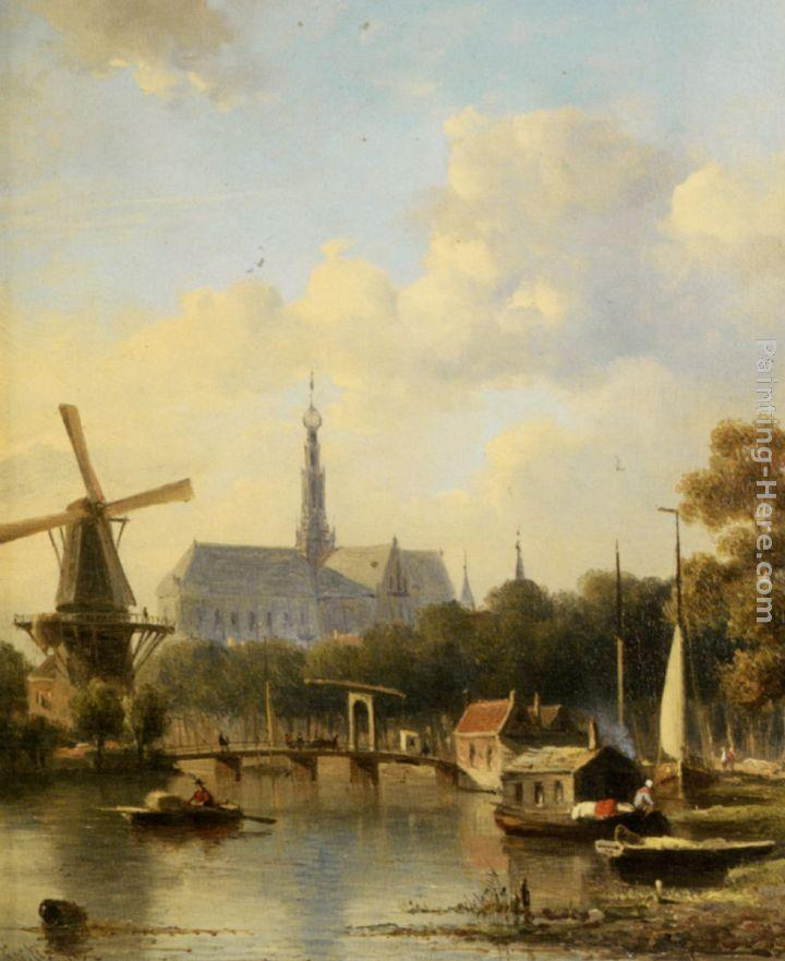 Everhardus Koster A View of Haarlem with St Bavo Cathedral from the River