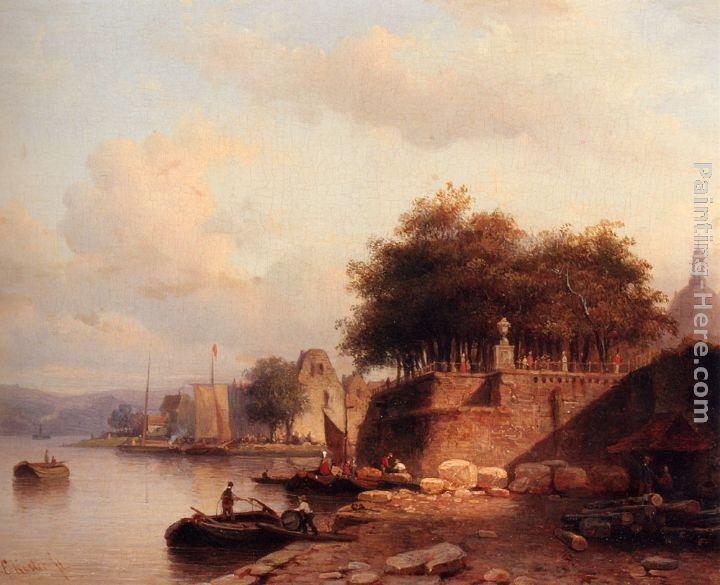 Everhardus Koster Numerous Townsfolk On A Quay Of A Town Along The Rhine