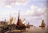Everhardus Koster - A River Estuary With Moored Fishing Pinks And Townsfolk On The Quay