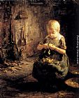 Evert Pieters - A Child Peeling Potatoes