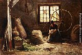Evert Pieters - A Peasant Woman Combing Wool