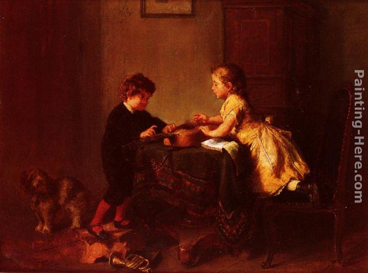 Felix Schlesinger Children Playing with a Guitar