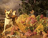 Ferdinand Georg Waldmuller - A Dog By A Basket Of Grapes In A Landscape