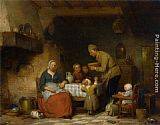 Ferdinand de Braekeleer A Peasant Family Gathered Around the Kitchen Table painting