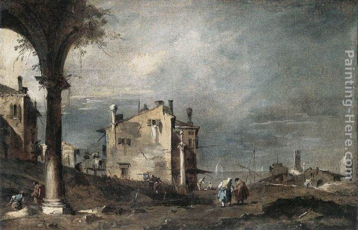 Francesco Guardi Capriccio with Venetian Motifs