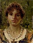 Francesco Paolo Michetti - Portrait Of A Girl Wearing A Pearl Necklace