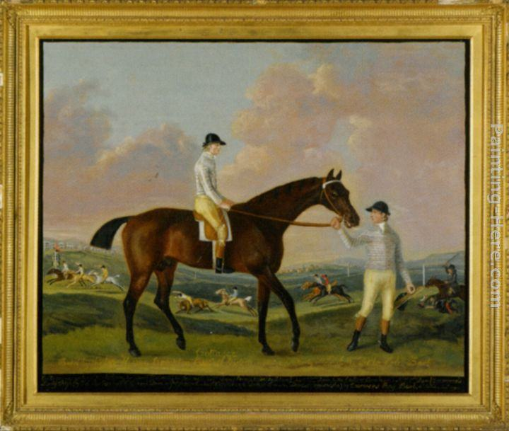 Francis Sartorius Portrait of Henry Comptons Race Horse Cottager Held by a Groom with Jockey and a Race Beyond