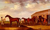 Francis Sartorius Four Racehorses Outside The Rubbing Down House, Newmarket painting