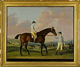 Horse Wall Art - Portrait of Henry Comptons Race Horse Cottager Held by a Groom with Jockey and a Race Beyond