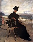 vera Canvas Paintings - A Lady Seated On A Veranda