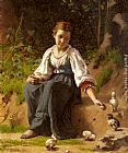 Francois Alfred Delobbe - A Young Girl feeding Baby Chicks