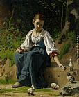 Francois Alfred Delobbe - Young Girl Feeding the Baby Chicks