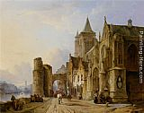 Francois Antoine Bossuet Figures in the Streets of a Riverside Town painting