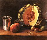 Table Wall Art - Still life with a Pumpkin, Peaches and a Silver Goblet on a Table Top
