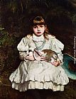 Frank Holl - Portrait of a Young Girl Holding a Pet Rabbit