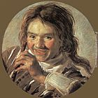 Frans Hals Canvas Paintings - Boy holding a Flute (Hearing)