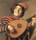 Frans Hals Canvas Paintings - Buffoon Playing a Lute