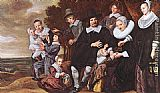 Frans Hals Family Group in a Landscape painting