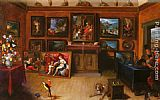 Frans the younger Francken - A Picture Gallery With A Man Of Science Making Measurements On A Globe