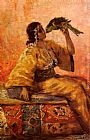 Frantz Charlet - A Moroccan Beauty Holding A Parrot