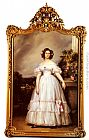Franz Xavier Winterhalter Famous Paintings - A Full-Length Portrait Of H.R.H Princess Marie-Clementine Of Orleans