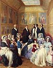 Franz Xavier Winterhalter Famous Paintings - Queen Victoria and Prince Albert with the Family of King Louis Philippe at the Chateau D'Eu