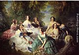 Franz Xavier Winterhalter Famous Paintings - The Empress Eugenie Surrounded by her Ladies in Waiting