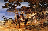 Frederick Arthur Bridgman Canvas Paintings - A Coastal Trail